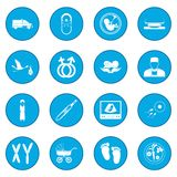 Pregnancy icon blue. Pregnancy simple icon blue isolated vector illustration Stock Photos