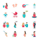 Pregnancy Icons Flat Stock Images