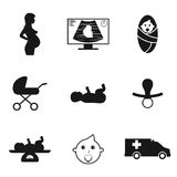 Pregnancy icons. Set of black isolated icons on a theme pregnancy stock illustration