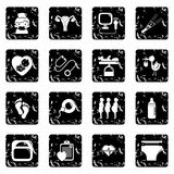 Pregnancy icons set grunge vector. Pregnancy icons set vector grunge isolated on white background Stock Photography