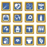 Pregnancy icons set blue square vector. Pregnancy icons set vector blue square isolated on white background Stock Photography