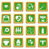 Pregnancy icons set green square vector. Pregnancy icons set vector green square isolated on white background Stock Image