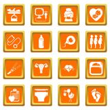 Pregnancy icons set orange square vector. Pregnancy icons set vector orange square isolated on white background Royalty Free Stock Photography