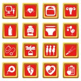 Pregnancy icons set red square vector. Pregnancy icons set vector red square isolated on white background Royalty Free Stock Images