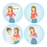Pregnancy illustrations set. Royalty Free Stock Image
