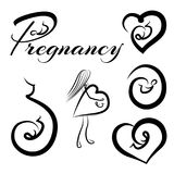 Pregnancy logos set. Logotypes collection of pregnancy and embryo. Vector illustration Royalty Free Stock Image