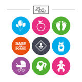 Pregnancy, maternity and baby care icons. Stock Photos