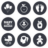 Pregnancy, maternity and baby care icons Royalty Free Stock Image