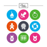 Pregnancy, maternity and baby care icons. Royalty Free Stock Image