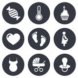 Pregnancy, maternity and baby care icons Stock Images