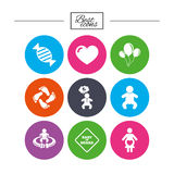 Pregnancy, maternity and baby care icons. Royalty Free Stock Images