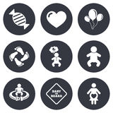 Pregnancy, maternity and baby care icons Stock Photography