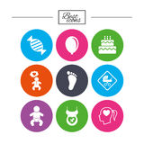 Pregnancy, maternity and baby care icons. Stock Photography