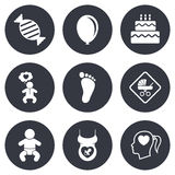 Pregnancy, maternity and baby care icons Royalty Free Stock Images