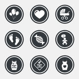 Pregnancy, maternity and baby care icons. Stock Images