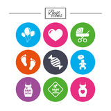 Pregnancy, maternity and baby care icons. Royalty Free Stock Photography