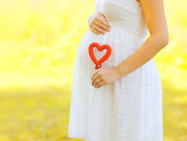 Pregnancy, maternity and new family concept - pregnant woman. Holding red heart symbol outdoors in sunny summer day stock photo