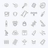 Pregnancy and motherhood line icons set Stock Image
