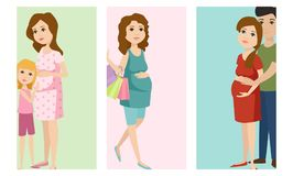 Pregnancy motherhood people expectation cards pregnant woman character life with big belly vector illustration. Pregnancy motherhood people and expectation cards Stock Images