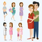 Pregnancy motherhood people expectation concept happy pregnant woman character life with big belly vector illustration. Pregnancy motherhood people and Stock Image