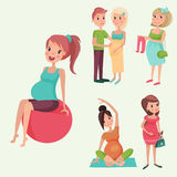 Pregnancy motherhood people expectation concept happy pregnant woman character life with big belly vector illustration Stock Photos