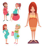 Pregnancy motherhood people expectation concept happy pregnant woman character life with big belly vector illustration Royalty Free Stock Image