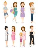 Pregnancy motherhood people expectation concept happy pregnant woman character life with big belly vector illustration. Pregnancy motherhood people and Stock Images