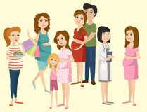 Pregnancy motherhood people expectation concept happy pregnant woman character life with big belly vector illustration. Pregnancy motherhood people and Royalty Free Stock Photos