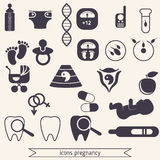 Pregnancy and newborn baby icons set. Childbirth and motherhood. Pregnancy and birth infographics. Medicine and pregnancy vector icons set Stock Photo