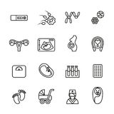 Pregnancy and newborn baby icons set. Line Style stock vector Stock Image