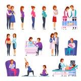 Pregnancy Newborn Cartoon Icons Set. Set of cartoon icons with gymnastics during pregnancy, medical examination, childbirth, newborn, happy family isolated stock illustration