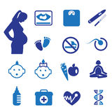 Pregnancy and newborn icons set Stock Photography