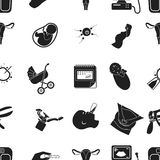 Pregnancy pattern icons in black style. Big collection of pregnancy vector symbol stock illustration Royalty Free Stock Photos