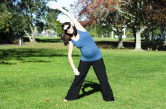 Pregnancy - pregnant woman exercise royalty free stock photos