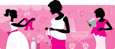 Pregnancy and preparing for baby birth. Vector illustration of three pregnant women silhouttes stock illustration