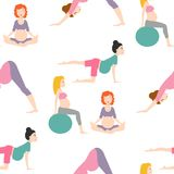 Pregnancy sport fitness people healthy character lifestyle seamless pattern background woman yoga vector illustration. Pregnancy sport fitness people and Royalty Free Stock Images