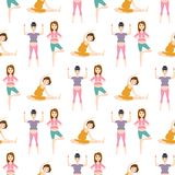 Pregnancy sport fitness people healthy character lifestyle seamless pattern background woman yoga vector illustration. Pregnancy sport fitness people and Royalty Free Stock Photos