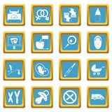 Pregnancy symbols icons azure. Pregnancy symbols icons set in azur color isolated vector illustration for web and any design Stock Image