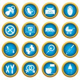 Pregnancy symbols icons blue circle set. Isolated on white for digital marketing Stock Photo