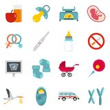 Pregnancy symbols icons set in flat style Royalty Free Stock Images
