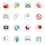 Pregnancy symbols icons set in flat style Royalty Free Stock Photography