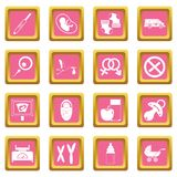 Pregnancy symbols icons pink. Pregnancy symbols icons set in pink color isolated vector illustration for web and any design Stock Photos