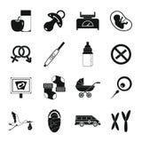 Pregnancy symbols icons set, simple style Stock Photos