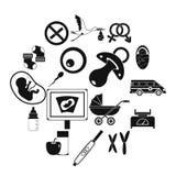Pregnancy symbols icons set, simple style. Pregnancy symbols icons set. Simple illustration of 16 pregnancy symbols vector icons for web Stock Images