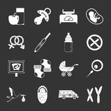 Pregnancy symbols icons set grey vector. Pregnancy symbols icons set vector white isolated on grey background Royalty Free Stock Image