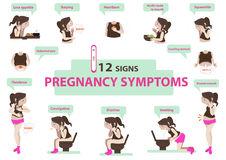 Pregnancy symptoms. Signs of pregnancy symptoms Infographic. illustration vector illustration