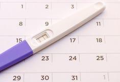 Pregnancy test on calendar background. Pregnancy care concept. Close-up Pregnancy test on calendar background. Pregnancy care concept stock photos