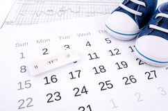 Pregnancy test on calendar Stock Images