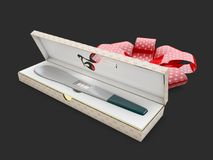 Pregnancy test in the gift box, health care concept, 3d Illustration, on black background Stock Photos