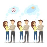 Pregnancy test illustration. Wanted and unwanted pregnancy Royalty Free Stock Image
